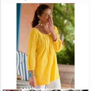 Soft Surroundings Pintuck Gauze Top Yellow Large